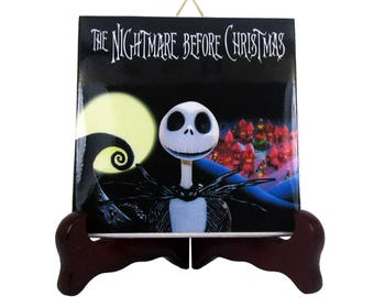 The Nightmare before Christmas by Tim Burton - Jack Skellington - collectible ceramic tile - cute gift - gothic gift - cute gifts - mod. 8