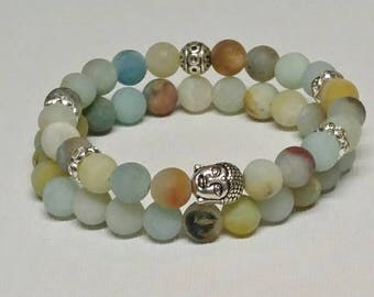 Gift Ideas for Friends, Frosted Amazonite Two Bracelet Set, Anniversary Gift Idea, Christmas Gift Idea, Meditation Boho, Buddha Charm