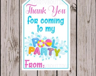 Instant Download- Pool Party Thank You Tags