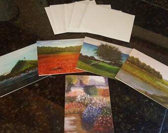 Artist note cards, blank, glossy finish, pkg of 5 w envelopes.