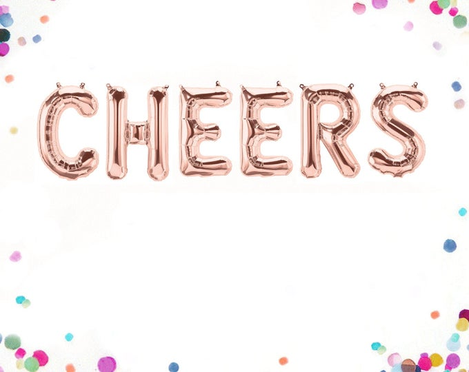 Cheers Balloons, Rose Gold Cheers Balloons, Cheers Banner, Cheers Sign, Cheers to the New Year, Letter Balloons 40 Inches