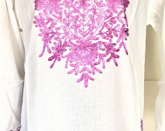 Women 100% cotton tunic dress Kurti Kurta top  beach cover up floral hand embroidered ethnic Indian boho Mexican tunic white XL long sleeve