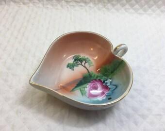Noritake Heart Shaped Dish With Handle, Scenic Dish, Rose Decor,  Art Deco, Gold Trim, 1930s, Noritake Hand Painted Porcelain