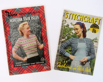 Vintage 1940s / 1950s  knitting pattern booklets x 2 - fair isle Paton's & Stitchcraft mostly women's some children accessories