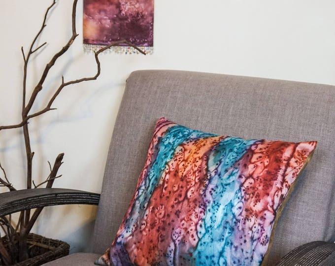 Burnt Orange Pillow 18x18-Watercolor Silk Pillow-Teal Pillow-Boho Decor-Rustic Decor-Bohemian Pillow-Home Decor Gifts-Watercolor Home Decor
