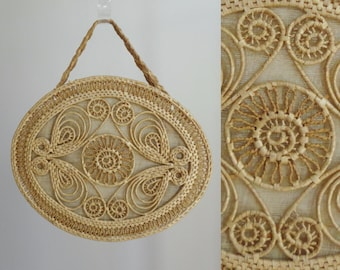 Cute Rattan Handbag With Leather Handle // Natural Summer Bag // Made In China