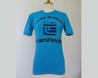 Blue 70s Vintage T-Shirt // Transfluvia // 100% Cotton // French Design