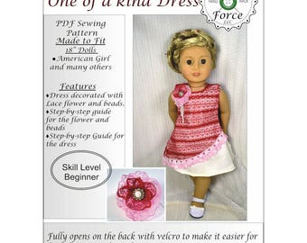18 inch doll clothes Pattern dress American girl doll clothes pattern dress - One Of A Kind Dress - PDF sewing pattern