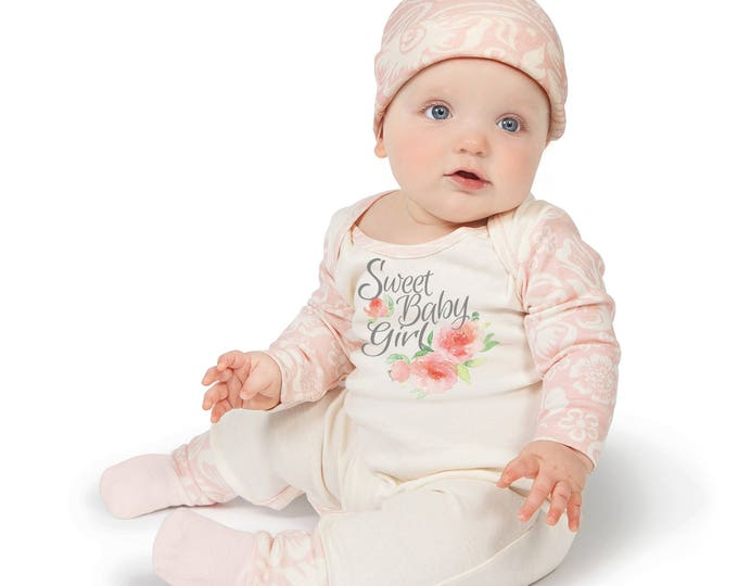 Baby Girl Romper, Newborn Girl Take Home Romper, Ivory and Pink Floral Long Sleeve Romper, Sweet Baby Girl, TesaBabe RC810IYFQ63XXX girl 4