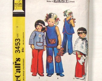 Vintage 1972 McCall's Toddler Cover-Ups and Pants Sewing Pattern #3453 - Size 3 (Breast 22) **Missing Toy Pattern Piece