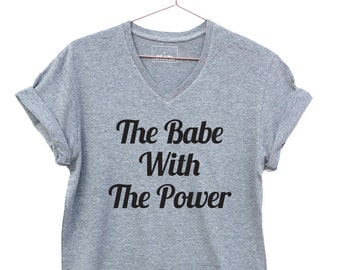 The Babe with the Power,  Labyrinth Movie  V-neck t-shirt, David Bowie t-shirt gift for men or women. feminist T-shirt
