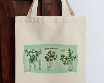 Herb Tote Botanical Tote Bag Calico Shopping Bag Gift for Mum Country tote bag, Fabric Shopping Bag Cotton Eco Bag Graphic Tote Herbal Tote