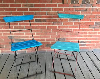 Vintage Set Of 2 Folding Wrought Iron And Wood French Bistro Chairs Blue  And Turquoise Paint
