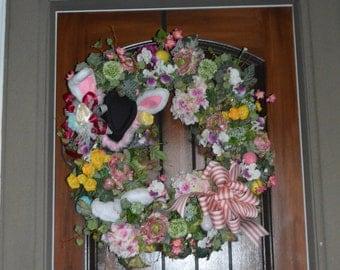 Easter Wreath, Rabbit Wreath, Spring Wreath, Spring Door Wreath, Easter Rabbit Wreath