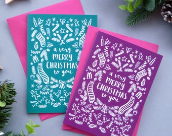 """A Few of my Favourite Things"" Luxury Colour Pop Christmas Card multipack"