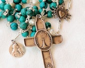 Rosary - Turquoise & Freshwater Pearl - Eucharist Saint Mary Magdalene - Sterling Silver