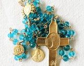 Rosary - Aqua Chinese Crystal - Eucharist Cross, Saint Mary Magdalene & Saintes Maries - 18K Gold Vermeil