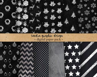 "Christmas digital paper: ""CHALKBOARD CHRISTMAS"" with chalkboard digital paper, Christmas patterns, chalkboard texture (1074)"