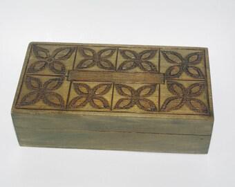 Green Wooden Jewelry Box Ornament wood box Pyrography Trinket Box Hand Tooled Handmade Box hand carved box inlaid Polish box Floral Flowers