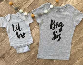 Sibling Shirt Set • Lil Bro Sis Big Bro Sis • Newborn Outfit • Pregnancy Announcement Sibling Shirt • Little Big Brother Sister Shirt