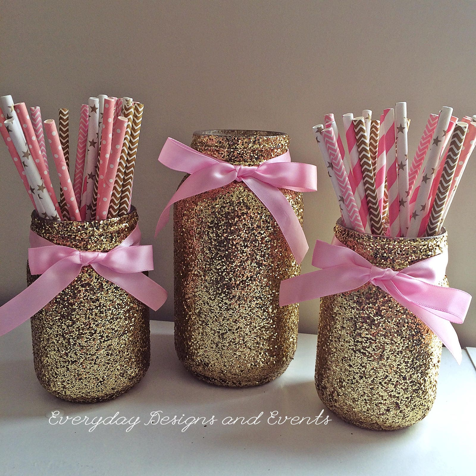 Pink And Gold Mason Jar Centerpiece Baby Shower Decorations Wedding Centerpieces Party Supplies