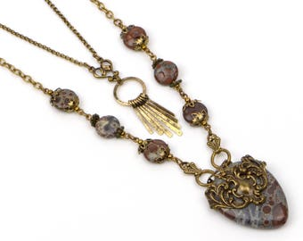 Long Boho Necklace For Women, Multistrand Necklace, Rustic Jasper Gemstone Necklace Set, Layered Necklace, Bohemian Jewelry Gift, Handmade