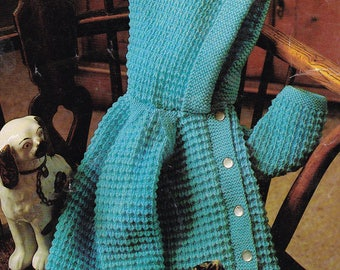 Baby hooded pram coat vintage knitting pattern pdf INSTANT download pattern only pdf 20 22 inches