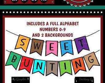 Sweet Bunting Set Bundle | Full Alphabet | Numbers | Cutting Files | Printable | svg | eps | dxf | png | Garland | Pennant | DIY Banner