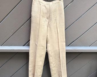 90s High Waist Linen Straight Leg Pants by Max Mara