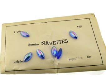 Vintage Sapphire AB Glass Navette Rhinestones 15x7mm Cabochon Cab Bombe Top Flat Back Made in West Germany