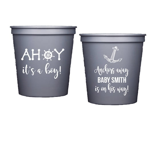 Anchor Baby Shower Cups, Nautical Baby Shower Stadium Cup, Ahoy it's a boy, Anchors Away, Personalized plastic cup