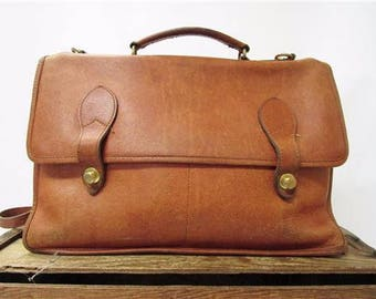 Schlesinger Vintage Handcrafted Tan Leather Messenger Briefcase Laptop Work Bag - SEE TEAR
