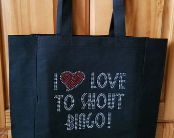 Rhinestone I Heart Love To Shout Bingo Tote Bag