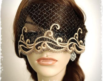 """Black and Gold Lace Mask Veil-Mysterious Masquerade Ball Versailles Party Halloween Mardi Gras Eye Mask-Golden Swirl Blindfold-""""ADELAIDE"""""""