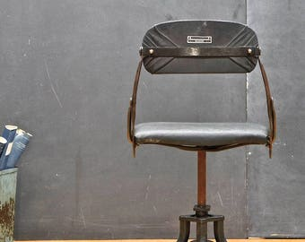 Vintage Industrial Clerks Desk Chair 1920s Highly Adjustable Manual Steel