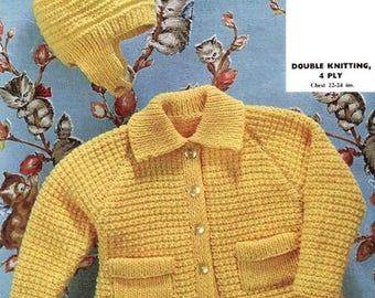Baby Knitting Pattern pdf Coat and Hat  Double Knit or 4 ply