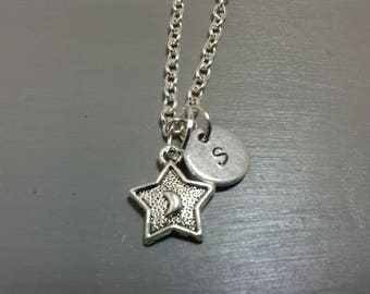 Star Necklace, Moon Necklace, Crescent Moon, Star and Moon, Initial Necklace, Customized Jewelry, Personalized Jewelry, Stamped Necklace