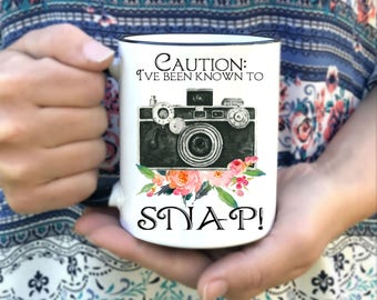 Photographer Mug - Gift for Photographer - Dishwasher Safe - Microwave Safe - I've been know to snap Coffee Mug - Cute Photographer Cups