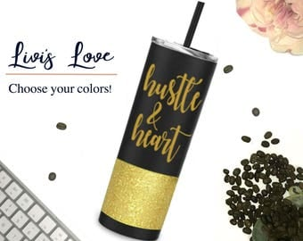 Hustle & Heart Glitter Tumbler Matte Black 20 oz Stainless Steel Travel tumbler to go cup straw cup mug straw tumblers Boss Babe Boss Lady