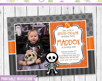 Halloween Photo Invitation - Halloween Birthday Invitation - Skeleton Invitation - Halloween Party Invitation -Halloween Skeleton Invitation