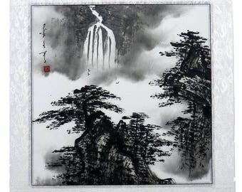 "Chinese painting landscape 16x16"" brush ink wash mountain Feng Shui Asian art"