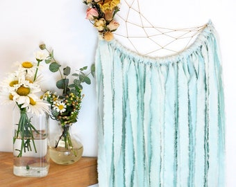 Seafoam Moon Dream Catcher with Dried Flowers