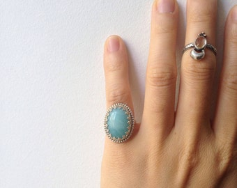 Vintage-Inspired Sky Blue Amazonite Ring || Sterling Silver, Handmade