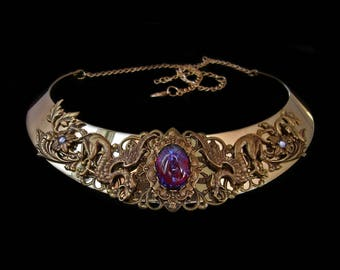Gryphon Necklace - Medieval Fantasy - Griffin - Gryffon - Hippogriff - Dragon Breath Stone - Torc - Bronze - Middle Age - Renaissance