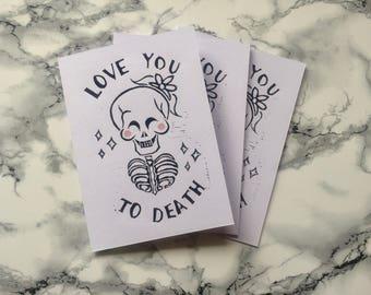 Love you to Death Linoprint Card
