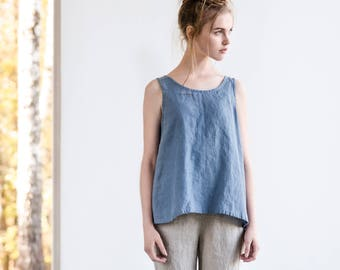 Linen blouse PRAGUE in round neck / swing linen tank top / available in 34 colors