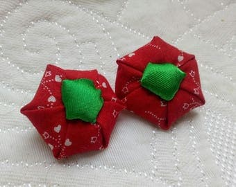 Earrings, floral cotton fabric.
