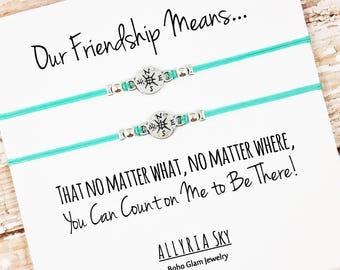 Set of Two Best Friend Bracelets | No Matter What, No Matter Where | BFF, Bestie, Best Friend Gift Jewelry | Friendship Gift | Long Distance