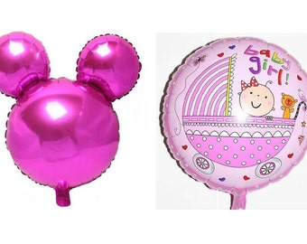 "set n. 2 balloons ""Baby girl"" + ""Mickey Mouse"""