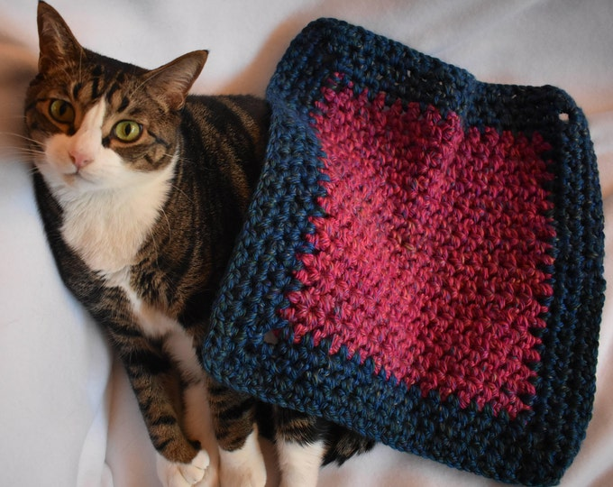 Featured listing image: Fuchsia & Navy Crochet Cat Mat -- Handmade Multicolor Pet Bed